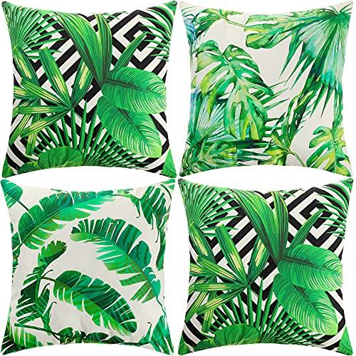 ARNTY Fundas Cojines 45x45 cm, Fundas de Cojines Modernas Juego de 4 Funda de Almohada Elegantes Decorativa para Sofá Coche Cama Sillas (Hoja Verde-Terciopelo)