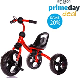 Little Bambino Tricycle for Children Toddler Age 2-6 Years Old Outdoor 3 Wheeler Pedal Ride On Trike with Bell | Quick Assembly | Adjustable Seat
