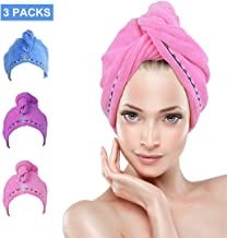 Hair Towel Wrap Turban 3 Pack YesTree Microfiber Quick Dry Hair Turban Wrap - Super Absorbent, Quick Magic Dryer, Dry Hair Hat, Wrapped Bath Cap (Blue+Purple+Rose Red) (Blue,Purple,Rose Red)