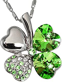 Lucky Love Four Leaf Clovers Necklace Crystals,Heart Crystal Pendant with Necklace