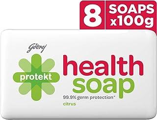 Godrej Protekt Health Bath Soap - Pack of 8 (100g each), Anti-bacterial, 99.9% Germ Protection, Citrus Fragrance