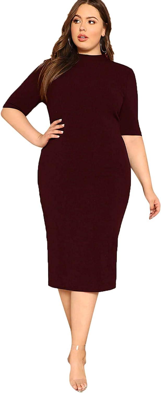 Floerns Women's Short Sleeve Plus Size Solid Bodycon Business Pencil Dress