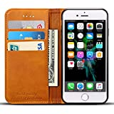 iPhone7ケース 革ケース 手帳型 カードポケット 小銭入れ 財布型 アイフォンケース 保護カバー 横開き 2つ折り 衝撃吸収 全面保護 イェロー