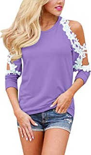 StyleDome Womens Floral Lace Shirt Sexy Cold Shoulder Tops Crochet Long Sleeve Blouses