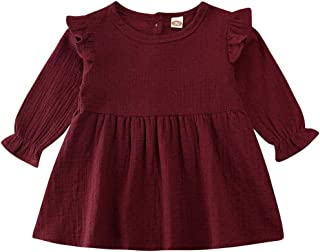 BULINGNA Toddler Baby Girl Long Sleeve Cotton Linen Dress Ruffled Dot Solid A-line Dress