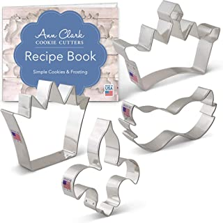 Ann Clark Cookie Cutters 4-Piece Mardi Gras and New Orleans Cookie Cutter Set with Recipe Booklet, King Crown, Princess Crown, Mask and Fleur de Lis