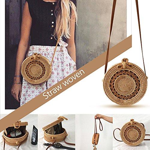 Handgemachte Vintage modische Rattan Stroh gewebte Tasche Böhmen Stil runden Bogen Strandtasche Home Storage Bag für Frauen