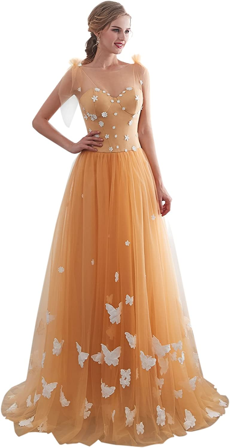PearlBridal Women's Appliques Tulle Long Prom Dresses 2018 Evening Party Gowns