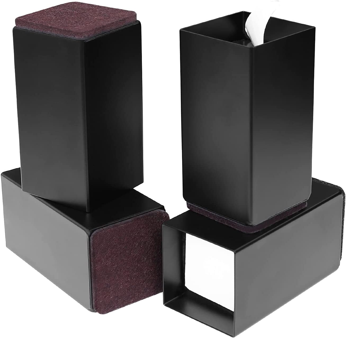 """ZDDLOINP Set of 4 Bed Furniture Risers - Lifts Height 4"""" - Heavy Duty Solid Steel Risers for Couch, Table, Desk, Chair with Non-Slip Bottom Felt Pad, Protect Floors and Surfaces, Square Black"""