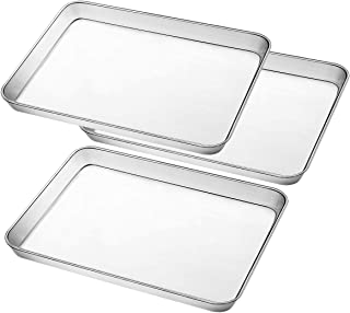 Stainless Steel Baking Pan, Large Cookie Sheet Set for Toaster Oven Tray Pans by Umite Chef, Superior Mirror Finish, Easy ...