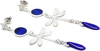 BLU Argento Blu Libellula Orecchini Giappone Regali personalizzati Natale Compleanno Gioiello Cerimonia Matrimonio Sposa D...