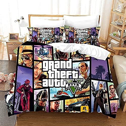PTNQAZ Juego 3D GTA V Juego de cama para niños y niños impreso Grand Theft Auto Fundas de edredón con fundas de almohada para niños (Doble)