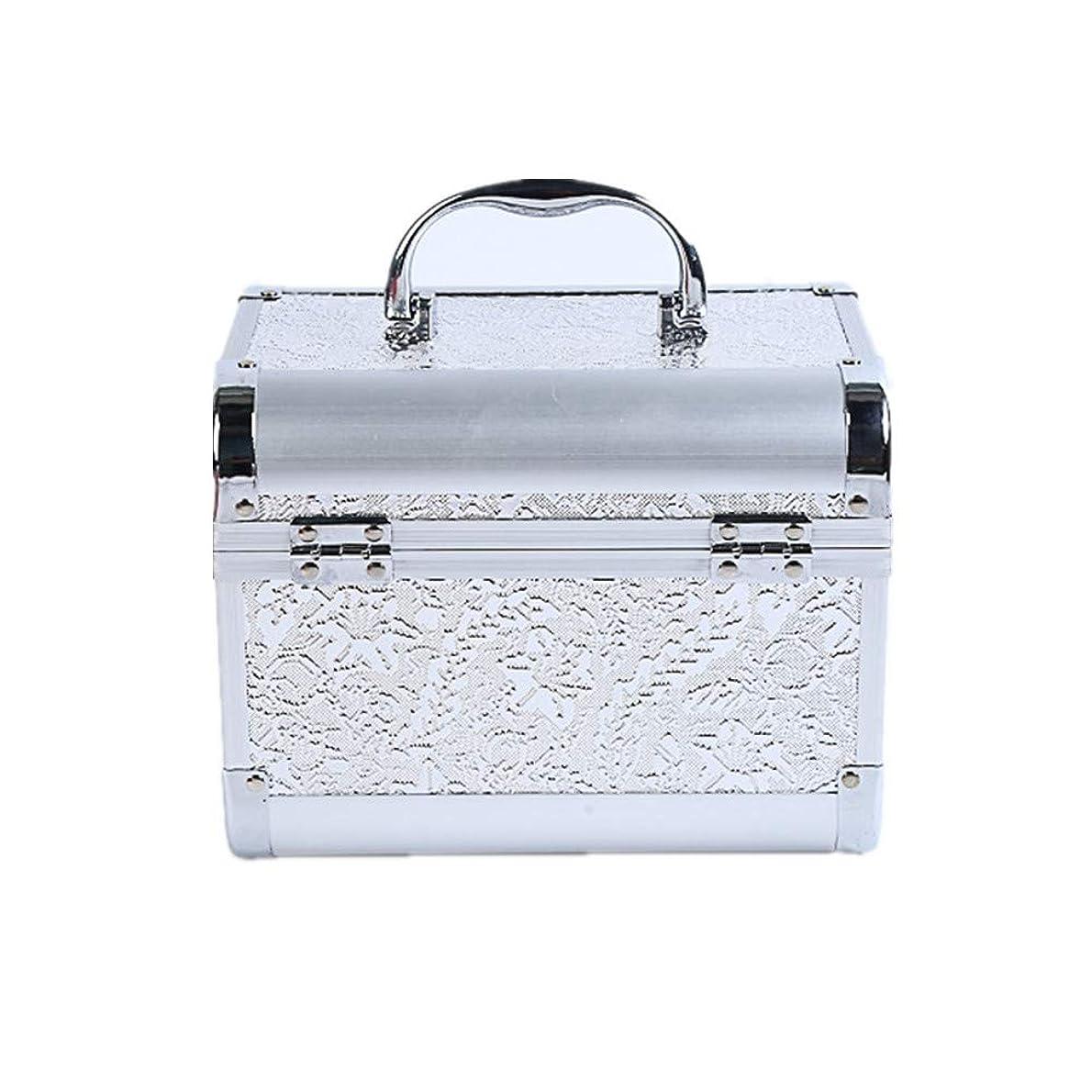 ピンスマッシュはず化粧オーガナイザーバッグ コード化されたロックと化粧鏡で小さなものの種類の旅行のための美容メイクアップのための白い化粧ケース 化粧品ケース