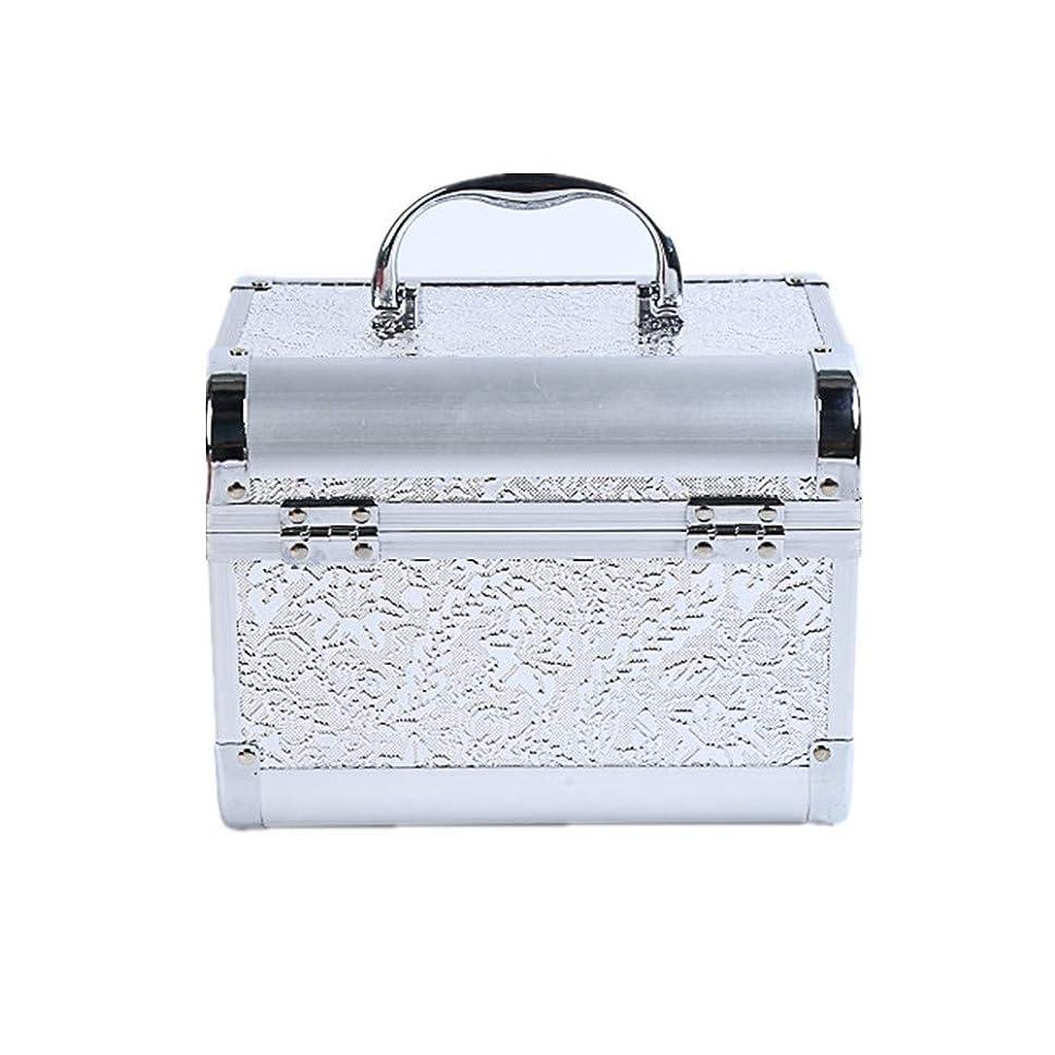 持つ露出度の高いストッキング化粧オーガナイザーバッグ コード化されたロックと化粧鏡で小さなものの種類の旅行のための美容メイクアップのための白い化粧ケース 化粧品ケース