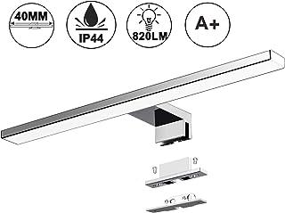Lámpara LED de Espejo 10W 820LM Lámpara de Baño Azhien, Blanco Neutro 4000K Lámpara LED de Pared Luz de Gabinete IP44 230V Luz de Espejo de Baño de Acero Inoxidable 40cm