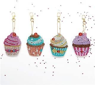 Fan-Ling DIY Special Shape Full Diamond Diamond Pattern Key Ring Set,Multicolor Diamond Embroidery Key Chain,Cell Phone Chain, Resin Rhinestones Pendant Holder (J:4pcs-Cake)