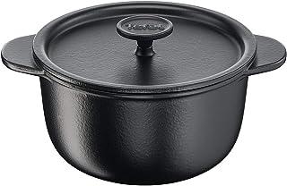 TEFAL Tradition Cast Iron 24 cm Casserole with Lid, Black, E2254604