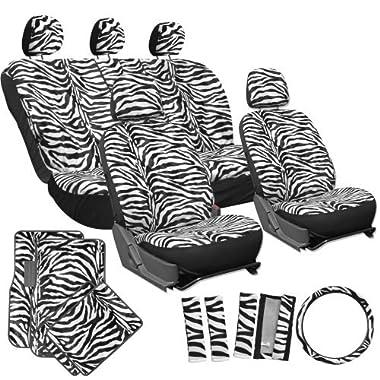 OxGord 21pc Zebra Car Seat Cover, Carpet Floor Mat, Steering Wheel Cover, Shoulder Pad Set - Universal Fit, Truck, SUV, or Van - Snow White