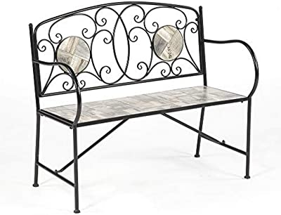 Transcontinental Group GF07763USA Mosiac English Grey Bench Outdoor_Living