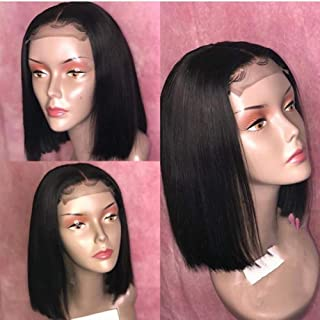 Estelle Wig Lace Closure Wig Human Hair 4x4 Short Bob Straight Hair Pre-Plucked Hair Line 150% Density for Black Women with Baby Hair (10inch, 4x4 Lace Wig)