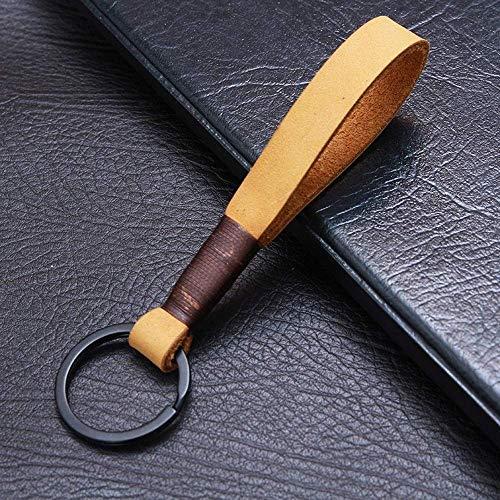 WANBAO Car Keychain Llavero Coche Llavero Anillo Moda Tendencia Llavero Cuero Creativo Pareja Schoolbag Key Colgante Accesorios Clásicos Llavero (Color: Parafina Rojo, Tamaño: Gratis)