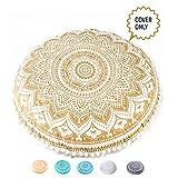 Mandala Life ART Bohemian Yoga Decor Floor Cushion Cover - Round Medition Pillow Case - Hand Printed Organic Cotton Pouf (Pouf Cover 30', Golden Lotus)