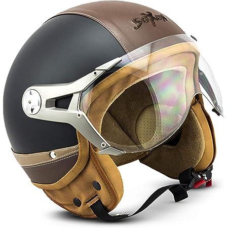 Soxon Sp 325 Urban Black Jet Helm Motorrad Helm Roller Helm Scooter Helm Moped Mofa Helm Chopper Retro Vespa Vintage Ece 22 05 Visier Leather Design Schnellverschluss Tasche Xs 53 54cm Auto