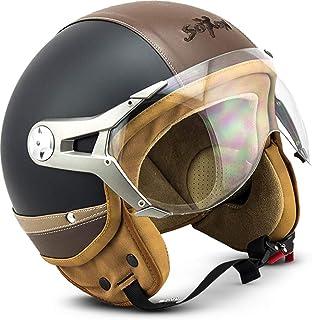 "Soxon SP-325 Urban ""Black""  Jet-Helm  Motorrad-Helm Roller-Helm Scooter-Helm Moped Mofa-Helm Chopper Retro Vespa Vintage Pilot  ECE 22.05 Visier Leather-Design Schnellverschluss Tasche S 55-56cm"