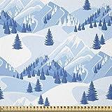 ABAKUHAUS Northwoods Tela por Metro, Nevado de abeto Bosque, Tela Elastizada Estampada para Costura Arte y Bricolaje, 1 Metro, Azul bebé blanco azul
