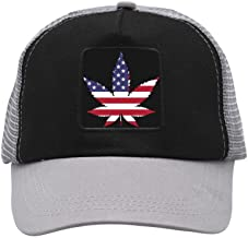 BMN&GAO American Flag Marijuana Leaf Baseball Cap Hat Adjustable Mesh Trucker Baseball Cap Hat for Women Men Girl