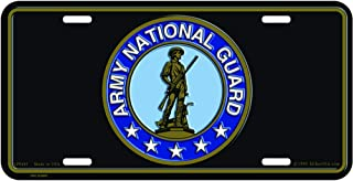 United States Army National Guard Automobile Metal License Plate Including Fastener Screws