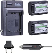 Tectra 2Pcs NP-FP50 NP FP50 Battery + Wall Charger for Sony NP-FP30,NP-FP50,NP-FP60,NP-FP70,NP-FP90,NP-FP51,NP-FP71,NP-FP91 Series Ony DCR-HC30 40 43E 65 85 94E 96 Handycam Camcorders