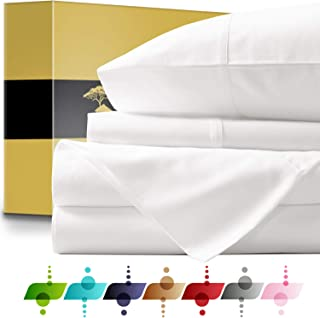 URBANHUT Egyptian Cotton Sheets Set - 1000 Thread Count 100% Cotton Bed Sheets Queen (4 Piece), Luxury Queen Size Sheets, Deep Pocket, Soft & Silky Sateen Weave (White)