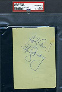HARRY CARAY Autograph Vintage Album Page Authentic Hand Signed - PSA/DNA Certified - MLB Cut Signatures