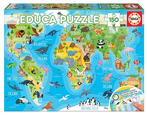 Educa Mappemonde Animaux. Puzzle Educatif Enfant. 150 pièces. Trouve Les animauxsur la Carte. +6 Ans. Ref. 18115, varié