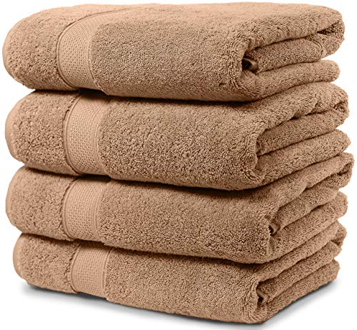 Maura 4 Piece Bath Towel Set. Extra Large 30x56 Premium Turkish Towels. Thick, Soft, Plush and Highly Absorbent Luxury Hotel & Spa Quality Towels - Sand
