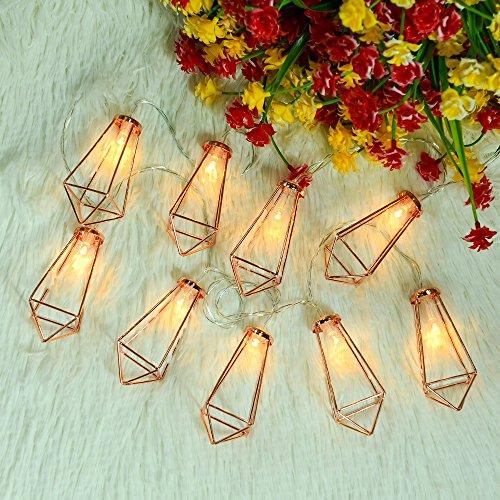 Omika 10Ft 20 LED luces de hadas del dormitorio de oro rosa - USB y alimentado por batería,...
