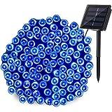 LEDイルミネーション ソーラー充電式 8パターン 200球 20m コントローラー付き 自動ON/OFF クリスマス 屋外 防雨 (20m, ブルー)