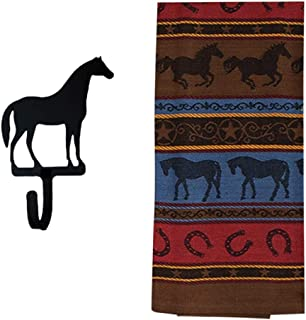 Rex and Rover Horse Kitchen Gifts - Western Dish Towel with Horse Shaped Magnetic Hook -2 Piece Set
