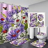 ZHEXI Duschvorhang mit Marienkäfer-Motiv, aus Polyester, rutschfest, für Badezimmer, Dekoration, Violett