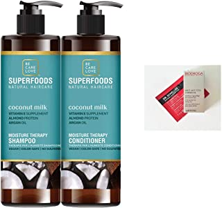 BCL Be Care Love Superfoods Coconut Milk Weightless Moisture Therapy Shampoo and Conditioner Liter Duo (+ 2 Free Samples)