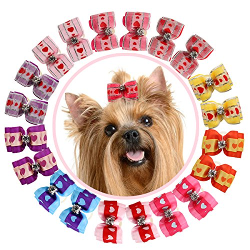 YOY 20PCS / 10 Pairs Adorable Grosgrain Ribbon Pet Dog Hair Bows with Rubber Bands - Puppy Topknot Cat Kitty Doggy Grooming Hair Accessories Bow Knots Headdress Flowers Set for Groomer