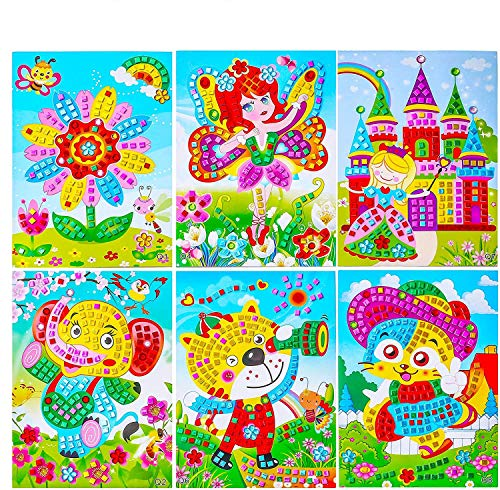 Sinceroduct Mosaic Stickers Art Kits for Kids - 12 Pack Sparkle DIY Handmade Crafts, 10x7.3.