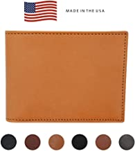 London Tan Genuine English Bridle Leather Bifold Wallet - RFID Blocking - American Factory Direct – Made in the USA by Real Leather Creations FBA542