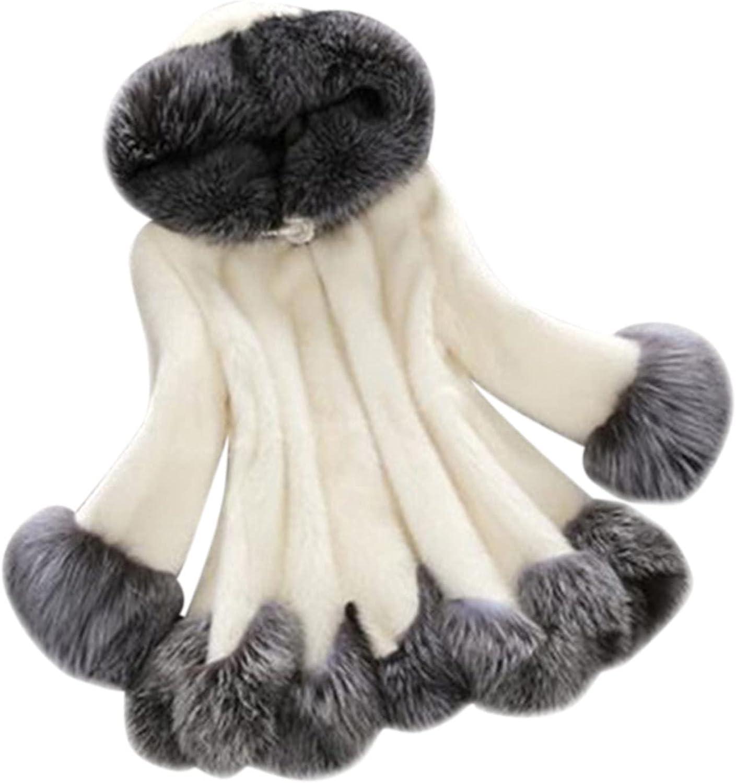 Women Plush Solid Color Faux Fur Coat Luxury Elegant Winter Warm