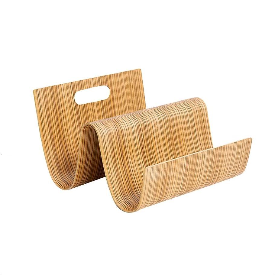 葉巻冷ややかな作るヨーロッパの木製クリエイティブブックマガジンラックマガジンラックポータブル縦型新聞ラックデスクトップ収納読書ラック (Color : Wood)