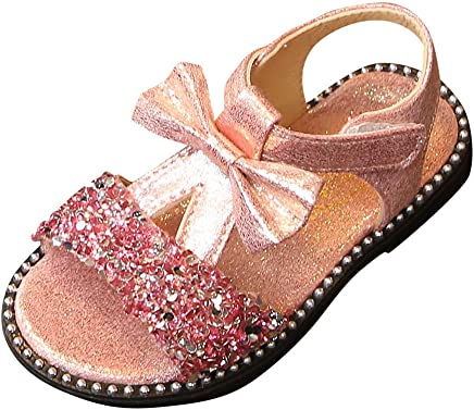 ed0dfc3af9a04 Mary Jane Sandals Baby Girls Summer Bling Sequins Ballet Flats Princess  Dress Shoes with Bowknot for Toddler Kids Girls