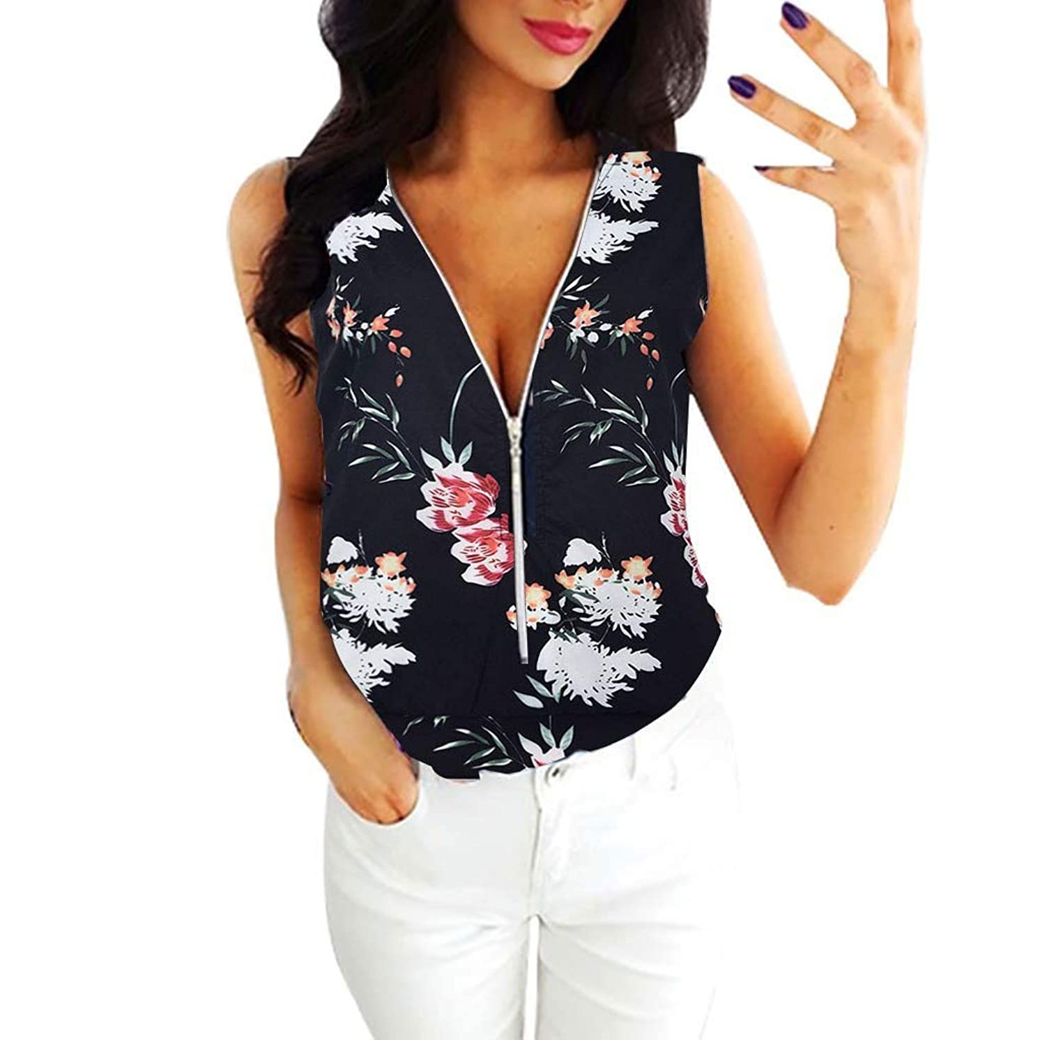 Tank Tops for Women Clearence Sale 2019, Ladies Printing Sleeveless Camisole Vest Blouse Pullover Tops - by Lismea