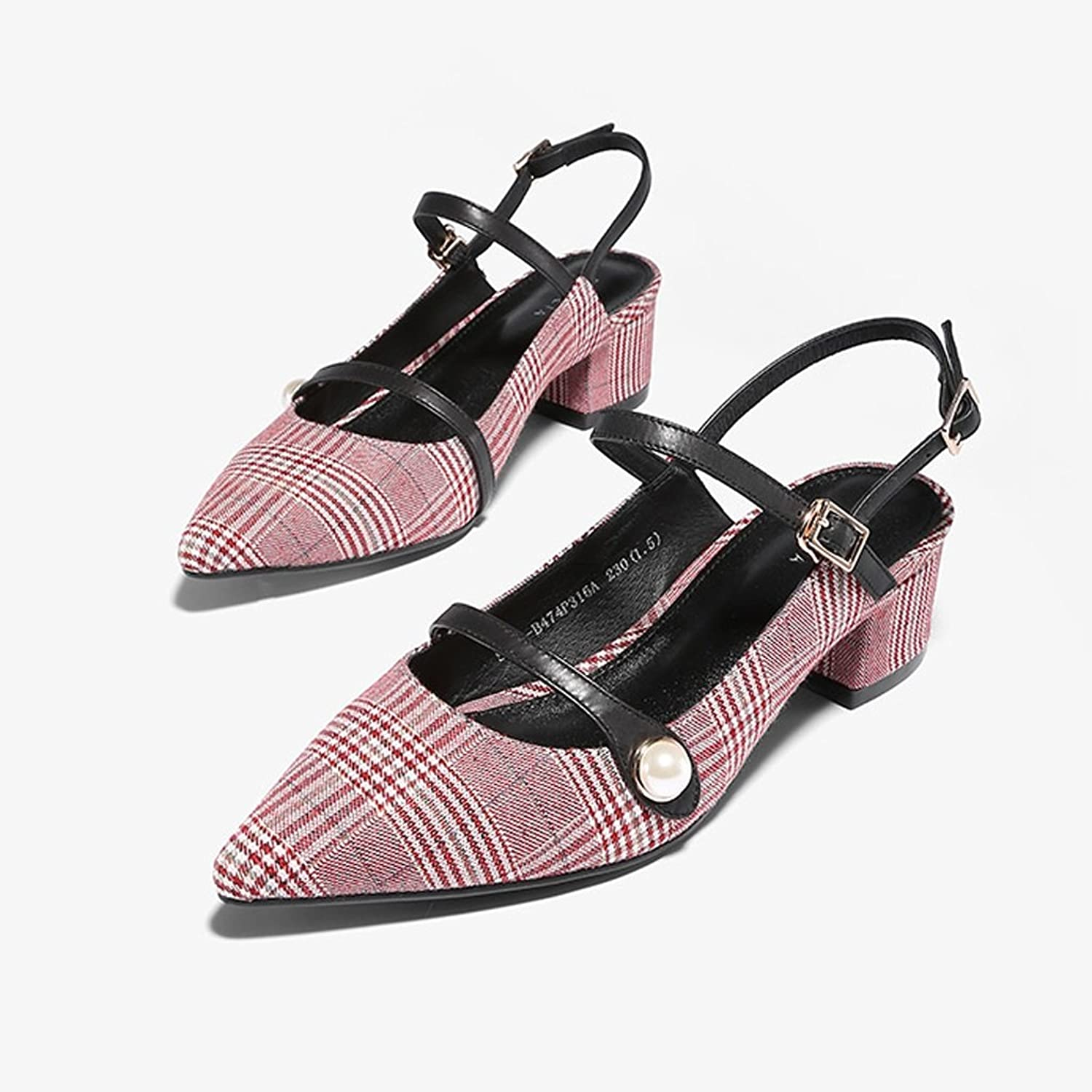 WANGXIAOLIN Sexy Sandals Summer New Word Buckle With Pointed Thick With Women's Sandals ( color   Red , Size   39 )
