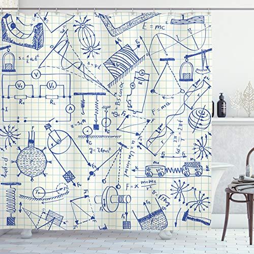 ABAKUHAUS Physik Duschvorhang, Technische Formeln Notebook, Personenspezifisch Druck inkl.12 Haken Farbfest Dekorative mit Klaren Farben, 175x220 cm, Ivory Indigo